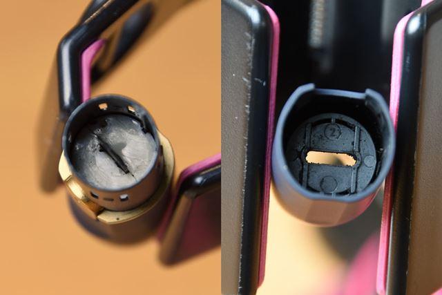 ホルダーの内部(左)もキャップの裏側(右)も、このくらいきれいに掃除できます