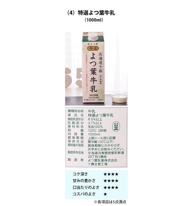 (4)特選よつ葉牛乳 1000ml