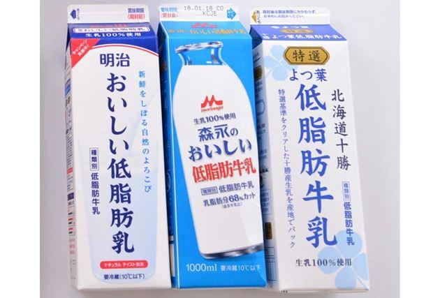 人気の低脂肪牛乳