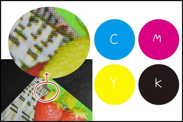 拡大してみるとC(シアン)M(マゼンタ)Y(イエロー)K(ブラック)の4色で印刷されています
