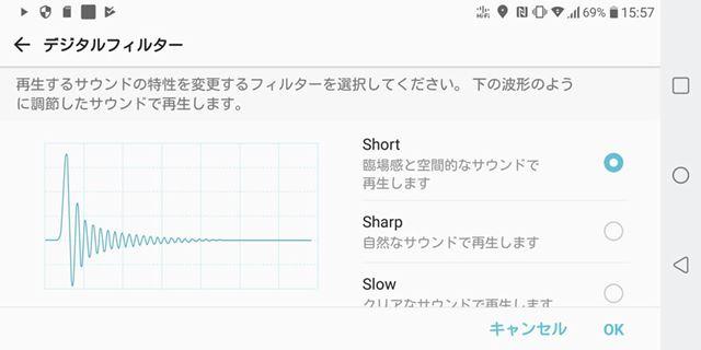 Short/Sharp/Slowという3種類のデジタルフィルターも搭載される