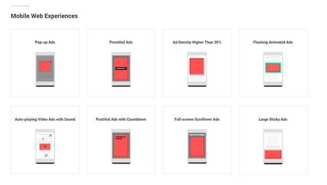 モバイル版Chromeで表示されなくなる広告の一例