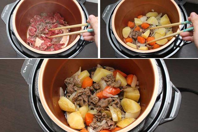 牛肉や野菜を炒め、しょう油、酒、みりん、砂糖の合わせ調味料を入れれば準備OK