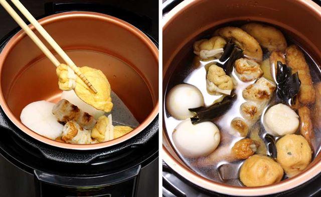 おでんの具材を内鍋の中に置き、そこにしょう油・酒・みりん・ダシの昆布を混ぜたおでんスープをかけるだけ