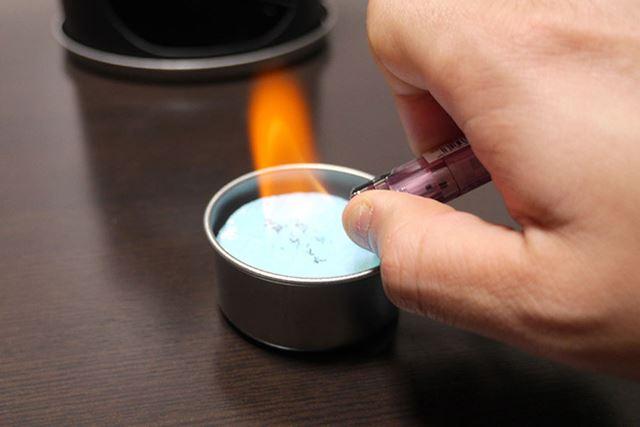 あとは固形燃料に火を付けて…