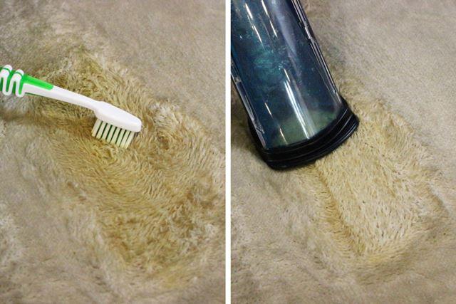 重曹スプレーをふりかけるだけでは落ちなかったので、歯ブラシで擦ってからスイトルで除去してみました