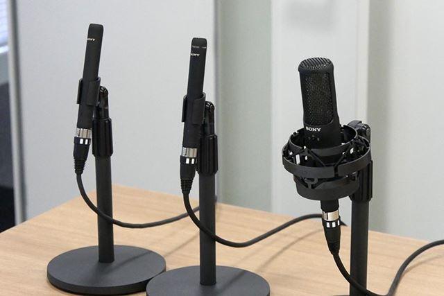 左から順に、楽器録音用マイク「ECM-100U」「ECM-100N」、ボーカル録音用マイク「C-100」