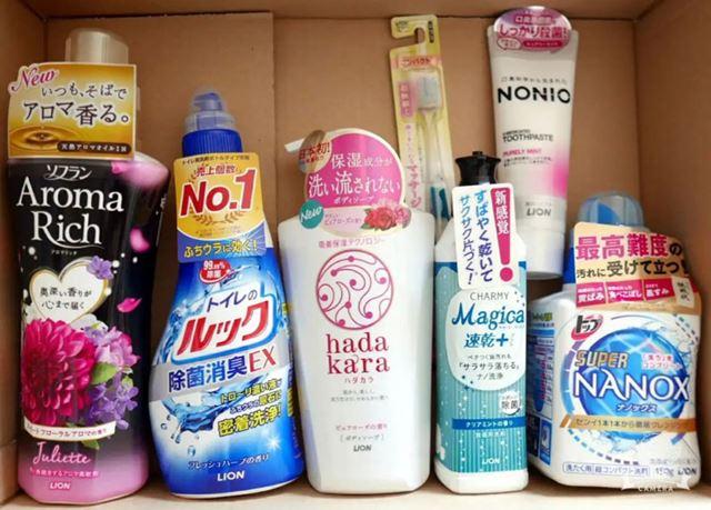 送られてくるのは、歯みがき粉や洗濯用洗剤などの自社製品詰め合わせ。日常生活で使えるものばかりです