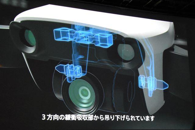 メインカメラは、3方向の衝撃吸収部品から吊り下げられていることで振動が軽減