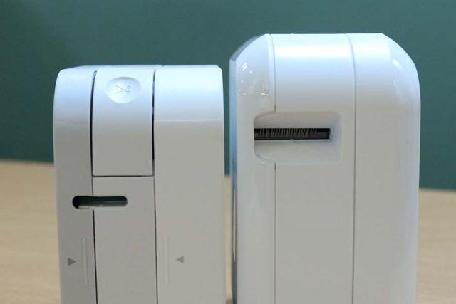 右が新モデルの「PT-P710BT」。テープの出口も広くなった