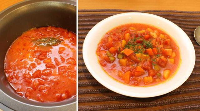 コトコトに煮込まれたミネストローネが完成! 野菜が柔らかくスープの中に溶けています