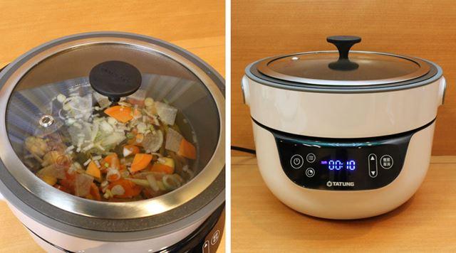 深鍋の中にダシ汁と具材を入れたら、ガラスフタをして「加熱モード」で10分間加熱します。本当にこれだけ