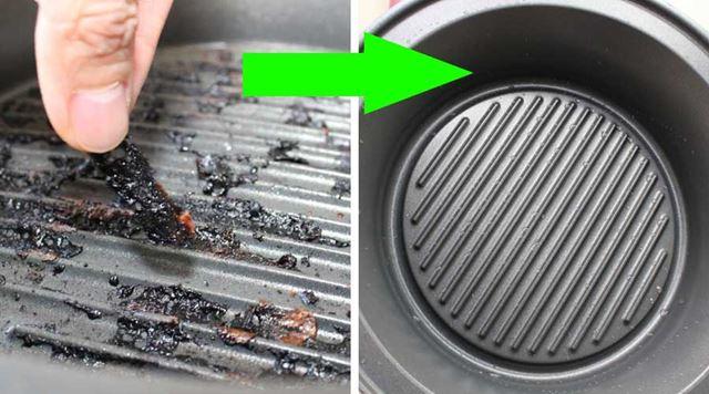 焼肉で後の焦げ付きも、指でスルッとはがれちゃうほど。台所用中性洗剤で洗えばすぐにピカピカになります