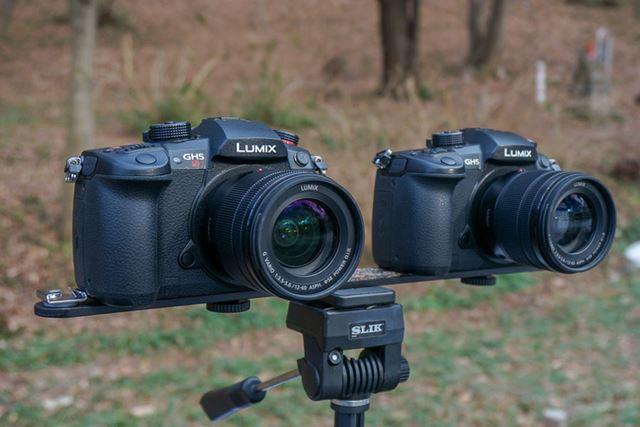「GH5S」と「GH5」を1列に並べて、ほぼ同じタイミング、同じレンズ、同じ設定で撮影して比較しました