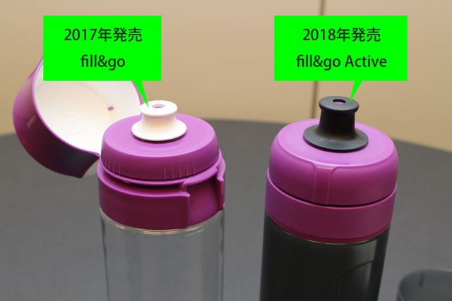 飲み口の形状も若干変わっており、fill&go Activeのほうが長くなっています