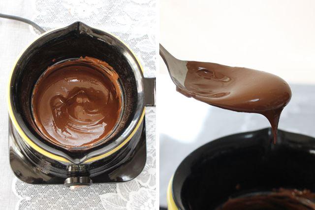 5分後にはもうこんな状態! 温度のことは何も考えず、ただ混ぜているだけでなめらかな液状チョコレートに