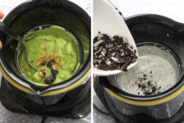 写真左は抹茶とグラノーラを混ぜてチョコクランチに、右は砕いた「オレオ」を混ぜてクッキーチョコを製作中