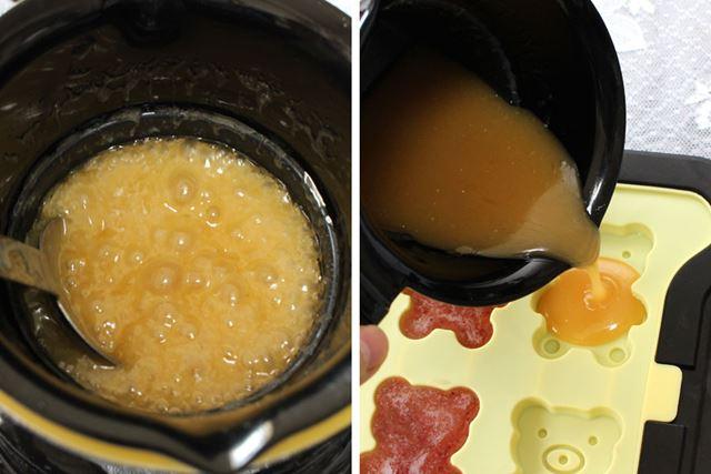 1時間半くらい経ち、キャラメル色に煮詰まってきたらOK。あとは、モールドに流し入れて冷蔵庫で冷やすだけ
