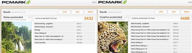 「PCMark 8」のHome acceleratedとcreativeのテスト結果