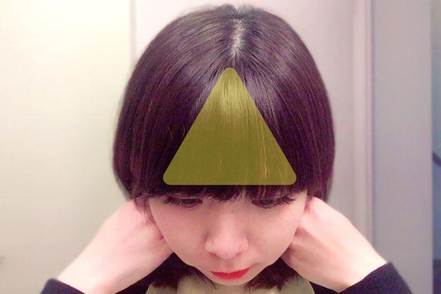 前髪とは、目尻と頭頂部を結んだ三角形のこの部分