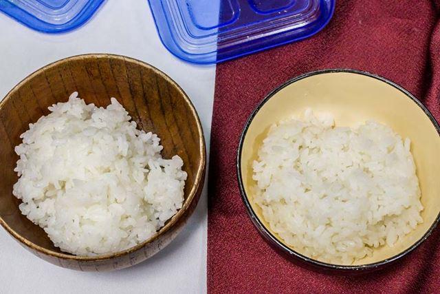 左が通常炊飯器、右が低糖質ごはん。しっかり米の甘みを感じられたのは、むしろ低糖質ごはんのほうでした