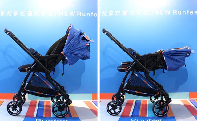リクライニング角度は100〜175°の範囲で、寝たままの新生児から3歳までの幼児まで対応します