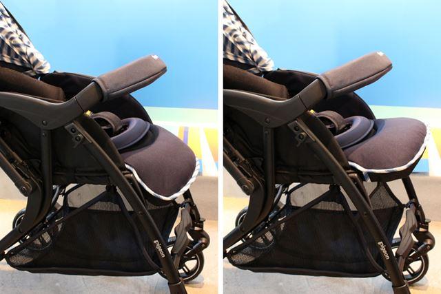 足もと側のシートも角度を変えられるので、子どもが成長して足を下におろすようになっても大丈夫!