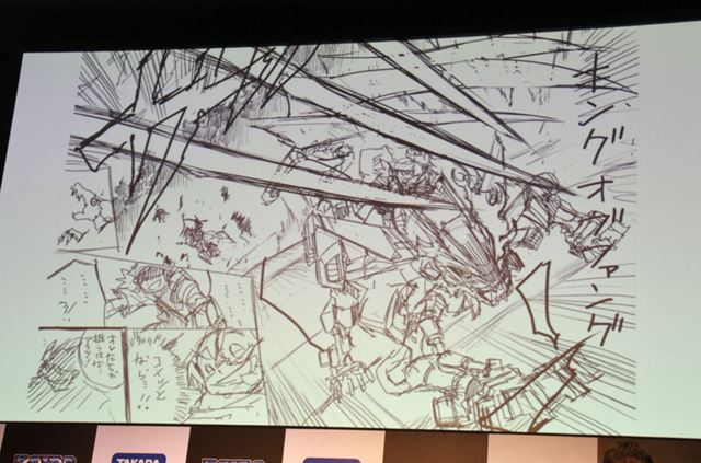 「コロコロコミック」で掲載予定のマンガのラフスケッチ。激しいゾイドバトルが描かれるという