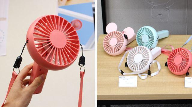 こちらは、外出時に片手で使えるモバイル型扇風機「3Wayハンディファン」。価格は2,180円(税別)