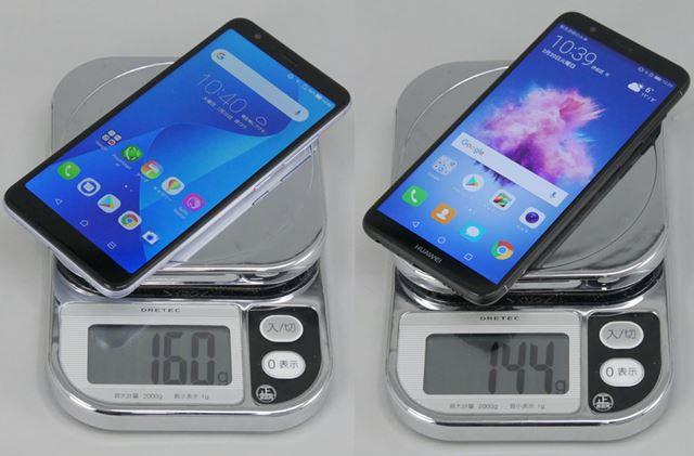 「ZenFone Max Plus (M1)」(左)は実測で160g、「nova lite 2」(右)は144g