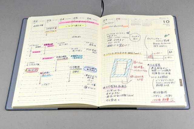 週間バーチカル式のページ。右ページにある土日の欄は、時間軸の代わりに大きなメモスペースを用意