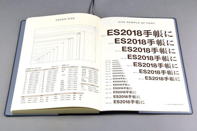 巻末にある便覧ページ。用紙サイズ表や文字の級数表はデザイナーや印刷関連の人に便利