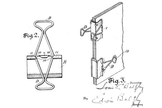 1915年に米国で特許出願されたダブルクリップの図。見た目も構造も現在のものと変わらない