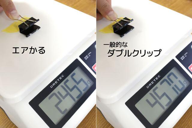 デジタルスケールに「エアかる」と一般的なダブルクリップを貼り付け、開く時にかかる力を計測