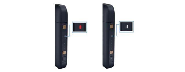 正常時は、1番上の細長いホルダー充電状態を示すランプが白色に点灯することで満充電を知らせる