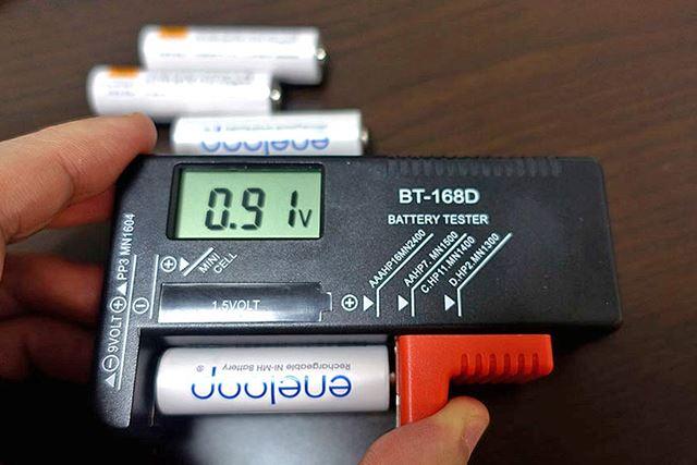 はい、電力がなくなってますね(0.9V以下になると電池としてほぼ使用不能とのこと)