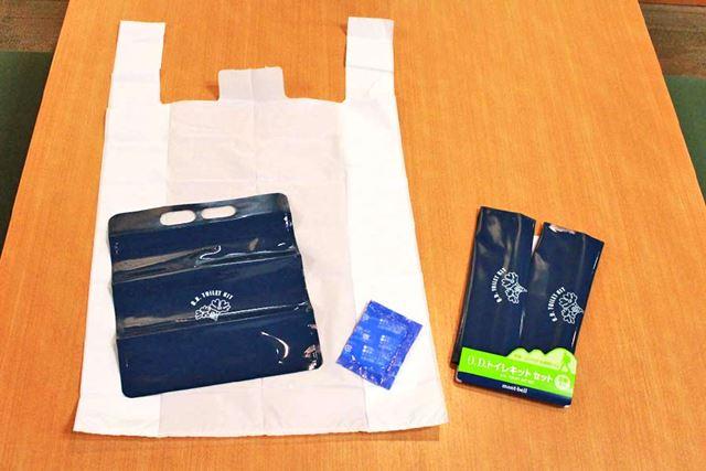 O.D.トイレキット 3個入り。白い便袋、吸水ポリマー、防臭袋のセットです