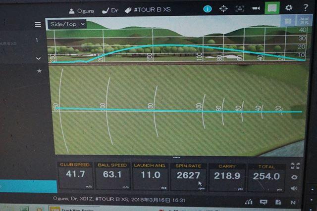 こちらはTOUR B XS。JGRよりもスピン量が多く、意図して曲げる球も打てるボールです
