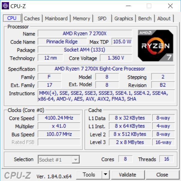 CPU-Zで「Ryzen 7 2700X」の情報を表示したところ