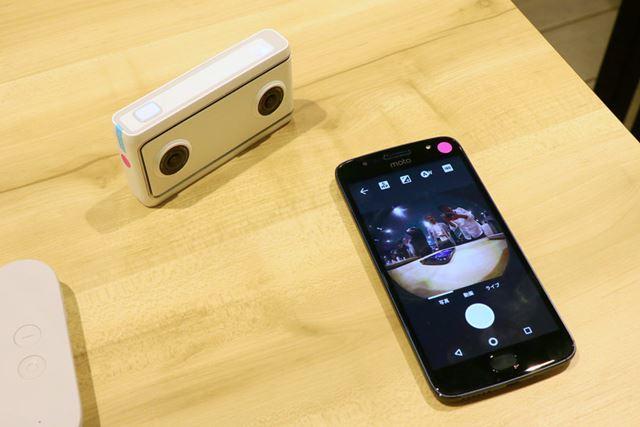Mirage Cameraにモニターはないが、ペアリングしたスマートフォンの画面を見ながら撮影できる