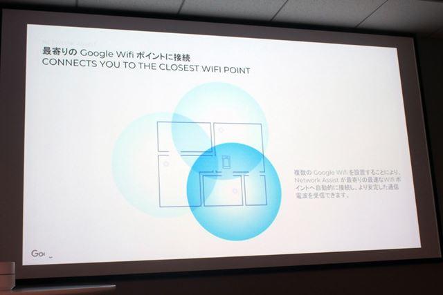 メッシュ機能を使った場合は、Wi-Fiの接続強度から最適なGoogle Wifiを選ぶようになるという