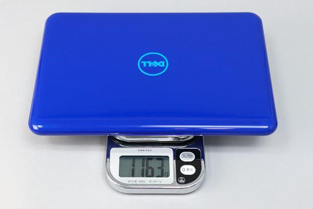 本体重量はキッチンスケールでの実測で1163gだった