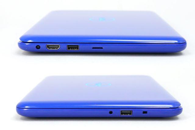 フルサイズのHDMI出力とUSBポート2基を備える。ミニノートPCとしては外部インターフェイスが充実している