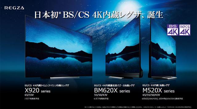 日本初のBS/CS 4K受信チューナー内蔵モデルとして、3シリーズ9機種をラインアップ