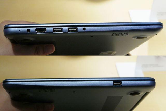 左側面には電源ポート、HDMIポート、USB 3.0×2。右側面にUSB 2.0×1を備える