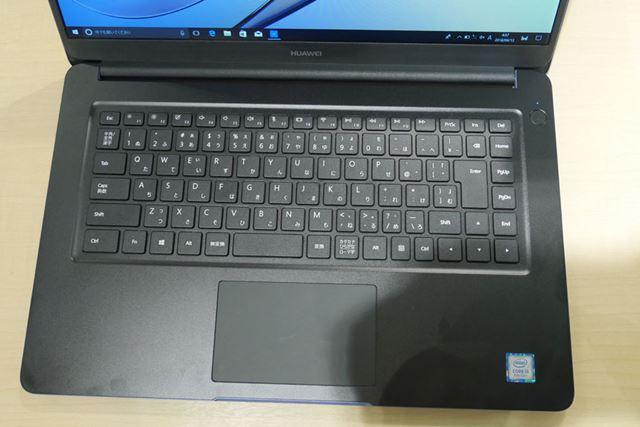「MateBook D」のキーボード。右上の電源ボタンは、指紋認証には対応していない