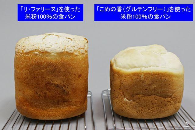 どちらもグルテンフリーの米粉パンですが、ふくらみ具合が大きく異なります
