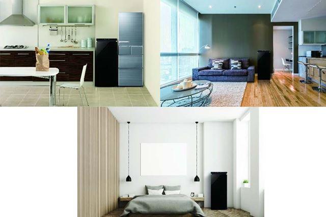 キッチン(上段左)、リビング(上段右)、ベッドルーム(下)にそれぞれ設置したイメージ