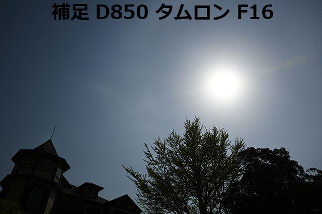 タムロンSP24-70mmでは光源の右側に大きなゴーストが発生した