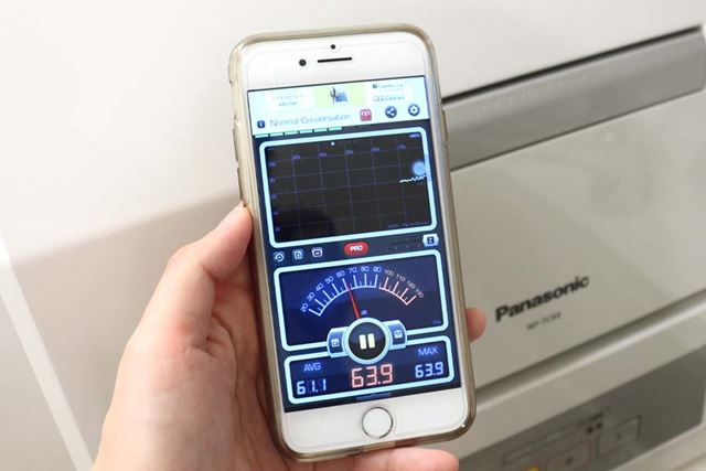 稼働中のプチ食洗の運転音を音量計測アプリで計ってみたところ、最高で65dBを記録
